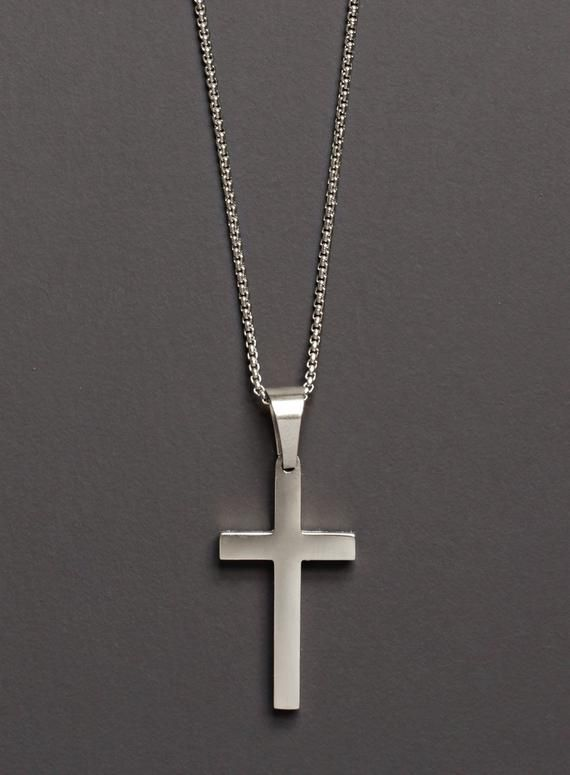 7c77302dbfe52 Men's Silver Cross / Cross Necklace for Men / Silver Cross Pendant / Stainless  steel cross for man /