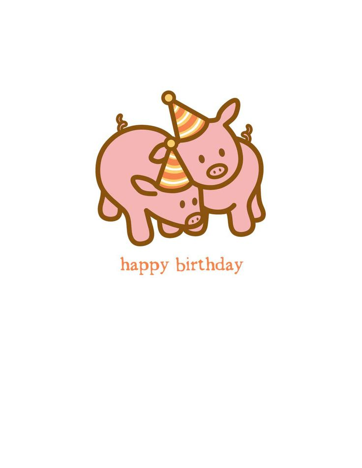 """Individually wrapped 4.25"""" x 5.5"""" card with a cream envelope. Printed in the U.S.A. on premium, recycled uncoated cardstock. Inside Message: Hogs and kisses on your birthday!"""