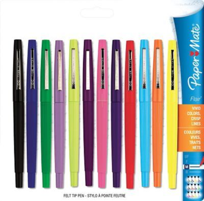 Shop Staples® for Papermate® - Stylos Flair® à pointe en feutre, 1,0 mm, couleurs variées, paq./12 et 4 stylos en prime and enjoy everyday low prices, and get everything you need for a home office or business.