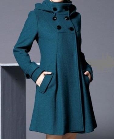 Elegant Wolle Mantel aus Petrole