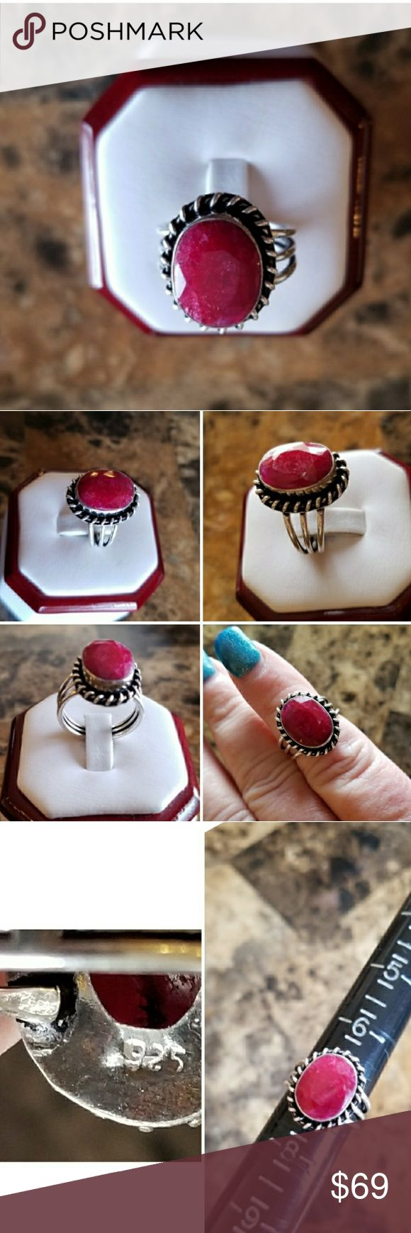Genuine 6ct Natural Ruby Ring Size 7 Bold, Beautiful Natural Pink Ruby!!!  Set in 925 stamped Solid Sterling Silver. Please see all pictures for more detail and measurement. Brand New. Never Worn. WHOLESALE Prices Always! Jewelry Rings