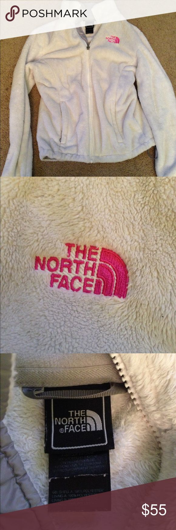 BREAST CANCER AWARENESS LIMITED EDITION NORTH FACE This is a white with pink accented The North Face jacket that has been pristinely kept. There are no obvious cosmetic damages and it will always keep you warm in chilly weather! The size is an XS in women's. North Face Jackets & Coats