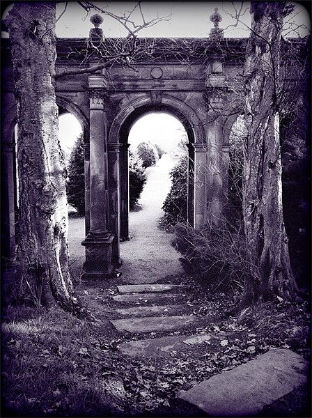 archway at trentham gardens. summer 2000. Taken prior to the major restoration at Trentham, personally I prefer the feeling of decayed splendour of pre-restoration. Canon FTb, 28mm, fuji neopan 1600 for a grainy, dreamy effect, and a purple / lilac tone added. Available on canvas and other options from Photo4me #Photography #Photo #Architecture #Architectural