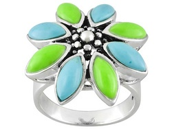 Green And Blue Turquoise Marquise Cabochon Sterling Silver Ring