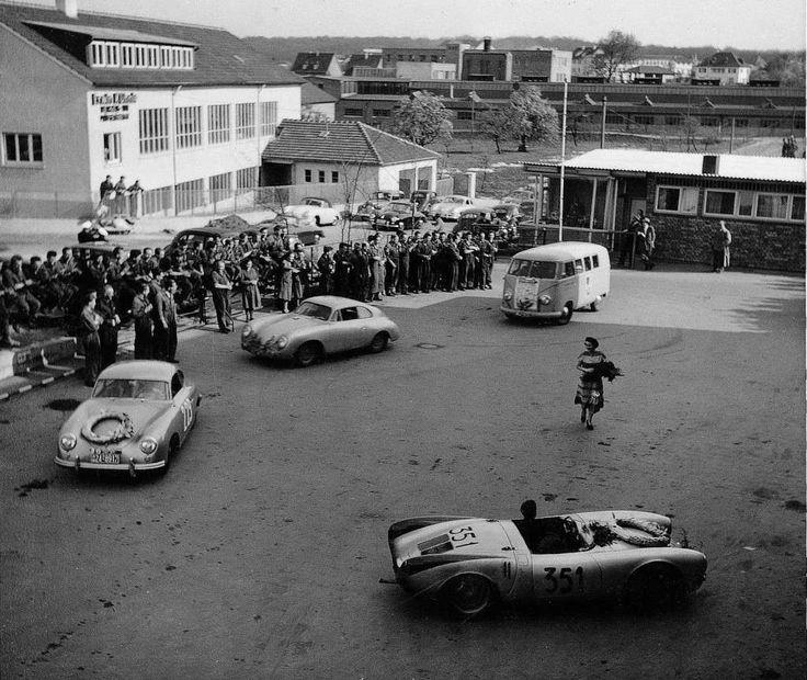 Mille miglia 1954 porsche n 351 porsche 550 spyder hans herrmann herbert linge 6th 1st - Garage volkswagen le mans ...