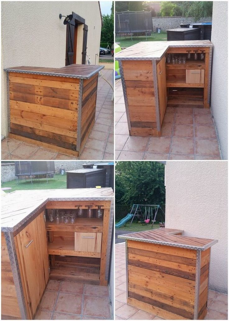 Creative reusing ideas for old wooden pallets bar for Old wood pallets ideas
