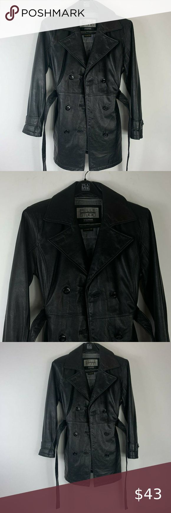 Pelle Studio Wilsons Leather Black Coat Wm Sz M in 2020