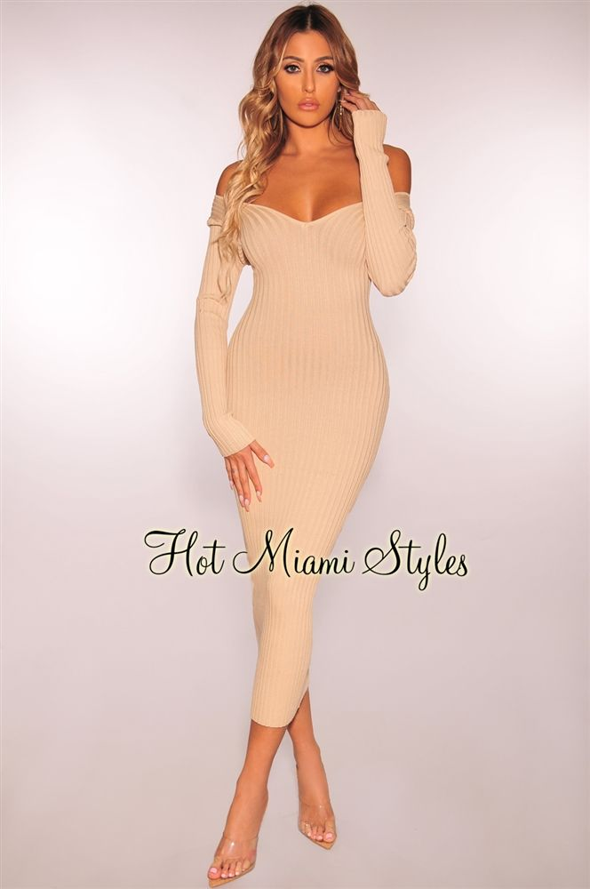 079c4130b5 Nude Ribbed Knit Long Sleeves Dress | Wish List | Pinterest
