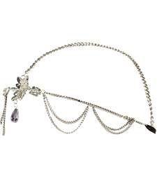 Silver tone flower diamante hair chain crown £8.00