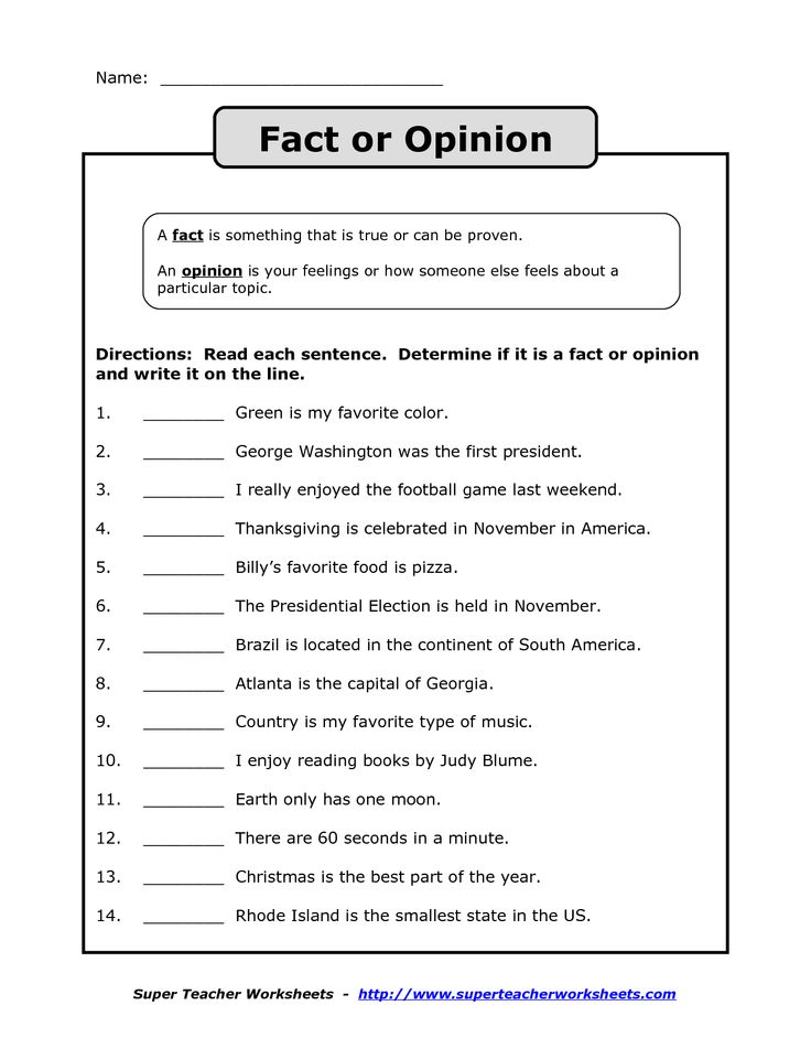 fact vs opinion worksheet - Google Search