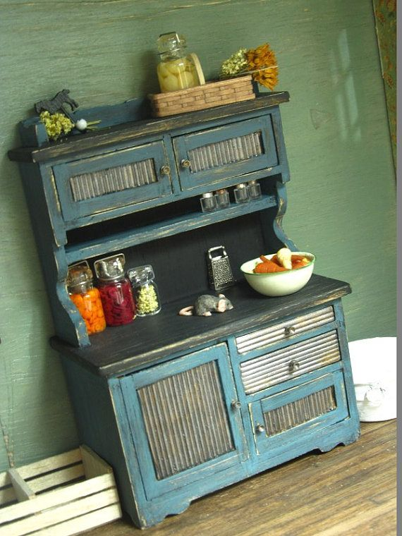 Barn Metal Kitchen Hutch Primitive Country Farm Dollhouse Miniature 1:12 on Etsy, $25.00