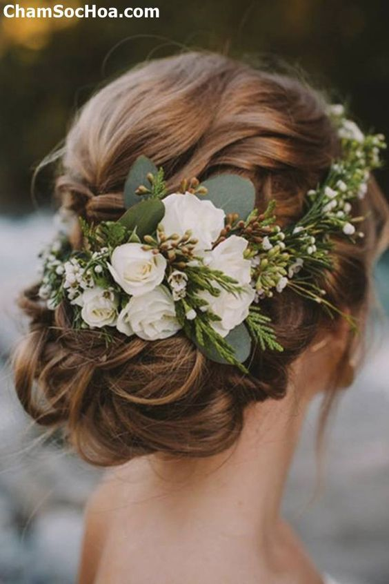 Rustic Vintage Updo Wedding Hairstyle For Long Hair with Flowers and Greenery in medium length for Round Faces Spring DIY Country Wedding Headpiece Id...