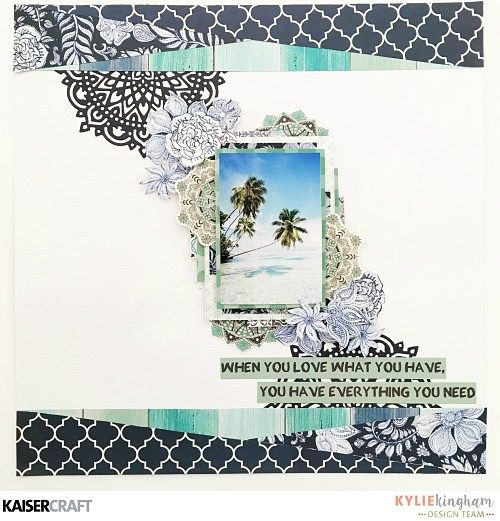 'Do What You Love' Layout by Kylie Kingham Design Team member for Kaisercraft Official Blog featuring their Delicious Decorative Dies and 'Ubud Dreams' collection (January 2017) – Saved from kaisercraft.com.au/blog - Wendy Schultz ~ Scrapbook Layouts.