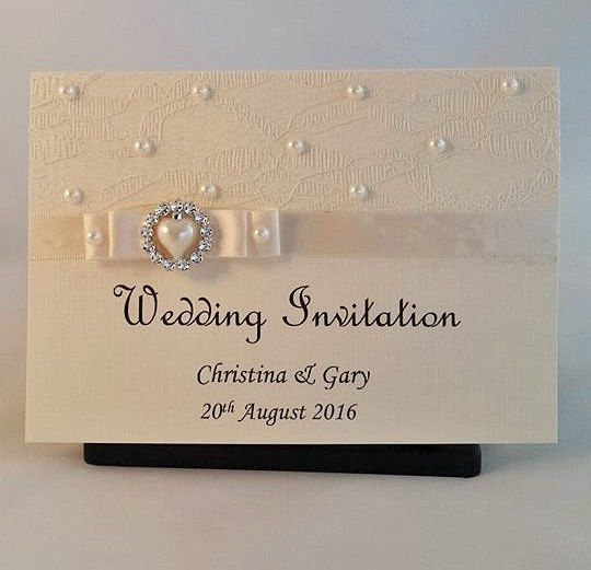 wedding invitations cream invitations lace by Craftsbyclarecad