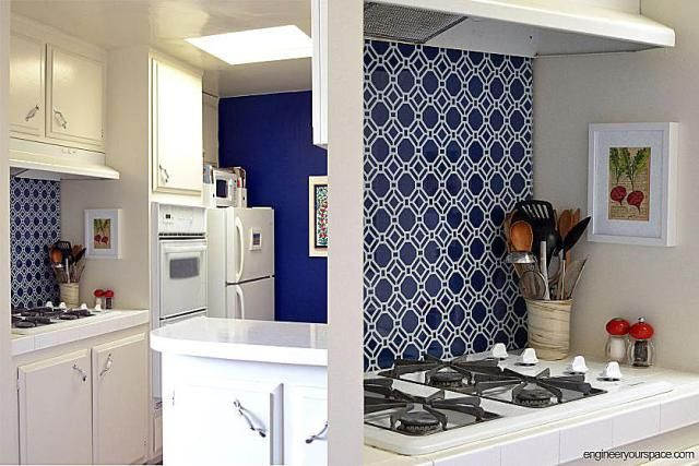Rental Rehab: 13 Removable DIY Kitchen Backsplashes: Create a Backsplash Using Removable Wallpaper