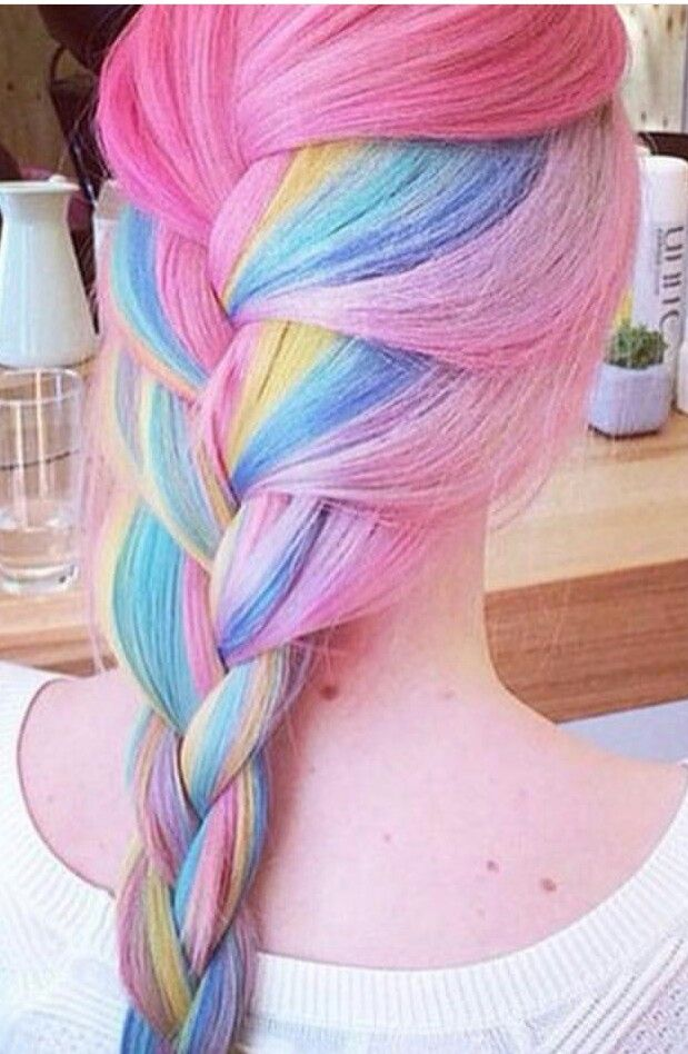 Pink blue braided pastel dyed hair