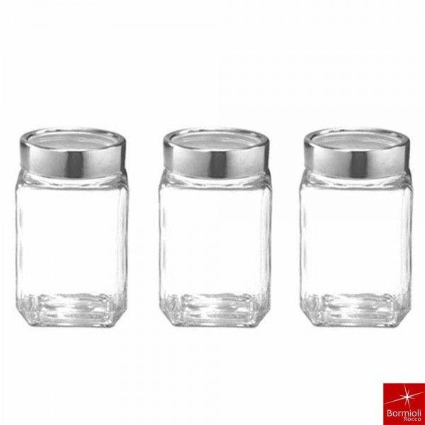Bormioli Rocco Cube Jars Set Of 3 Pcs 310ml