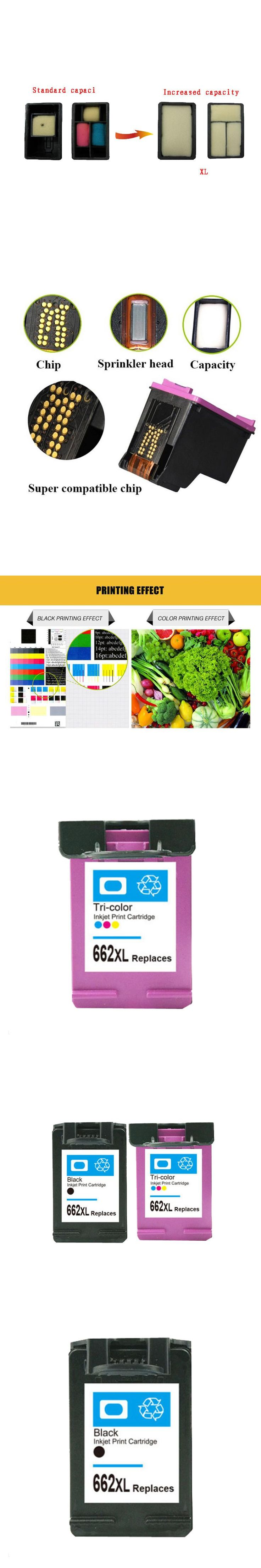 For HP 662 xl Ink Cartridge for HP662 662XL Deskjet 1515 1015 1018 1518 2645 3545