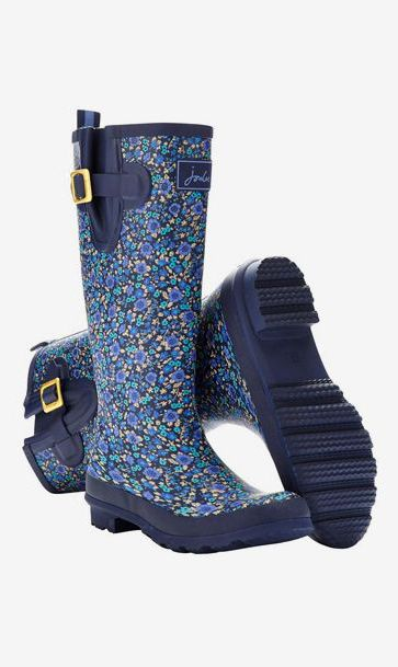 Women's Printed Rain Boot Wellies, French Navy Ditsy