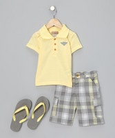 With a classic polo on top and comfy plaid cargo shorts down below, the little man who sports this handsome set will be a true charmer. Pair with the matching flip-flops for a complete look.Size note: Sizes 2T, 3T and 4T include flip-flops that fit shoe sizes 2T to 4T. Sizes 4, 5, 6 and 7 include flip-flops that fit shoe sizes 4 to 7.