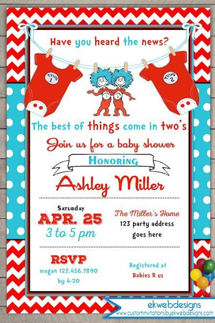 Thing One Thing Two Baby Shower Invitation   Twins Baby Shower Invite