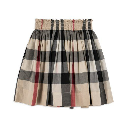 15d44af1cafd BURBERRY Girls  Hala  Skirt - Beige Girls pleated skirt • Soft lightweight  cotton • Elasticated waist • Flared design • House Check printMaterial   100% ...