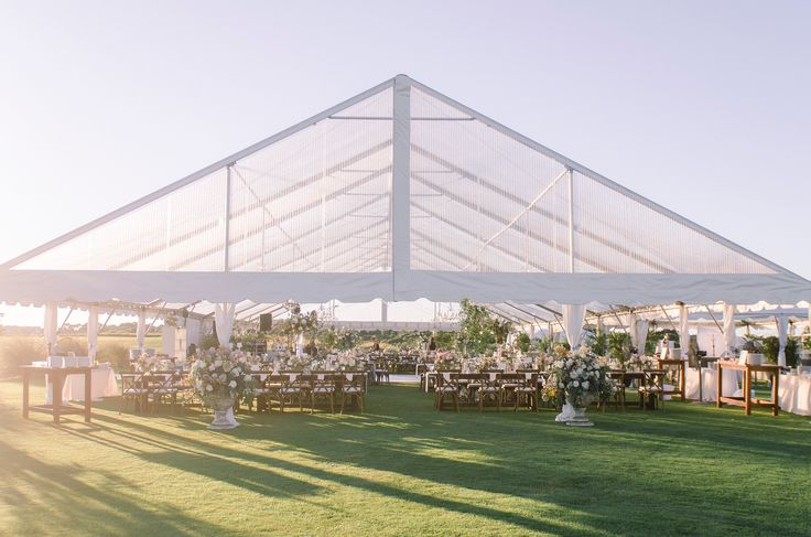 Clear Top Tent Wedding Reception at the Ocean Course on Kiawah Island. Design and Decor by Fox Events.