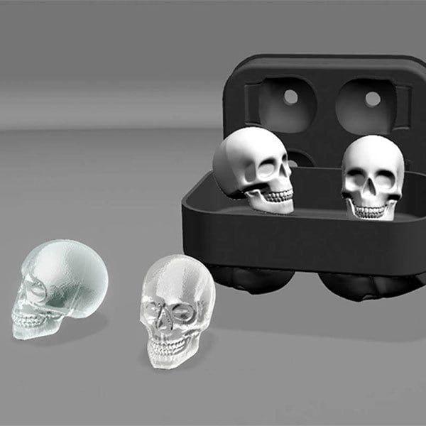 Novelty Halloween 3D Skull Flexible Silicone Ice Cube Tray - BLACK
