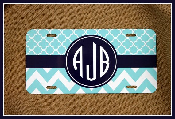 License Plate Monogrammed Gifts Monogram Car Accessories Personalized Car Tag Car Tags License Plates Two Patterns of Your Choice on Etsy, $25.00