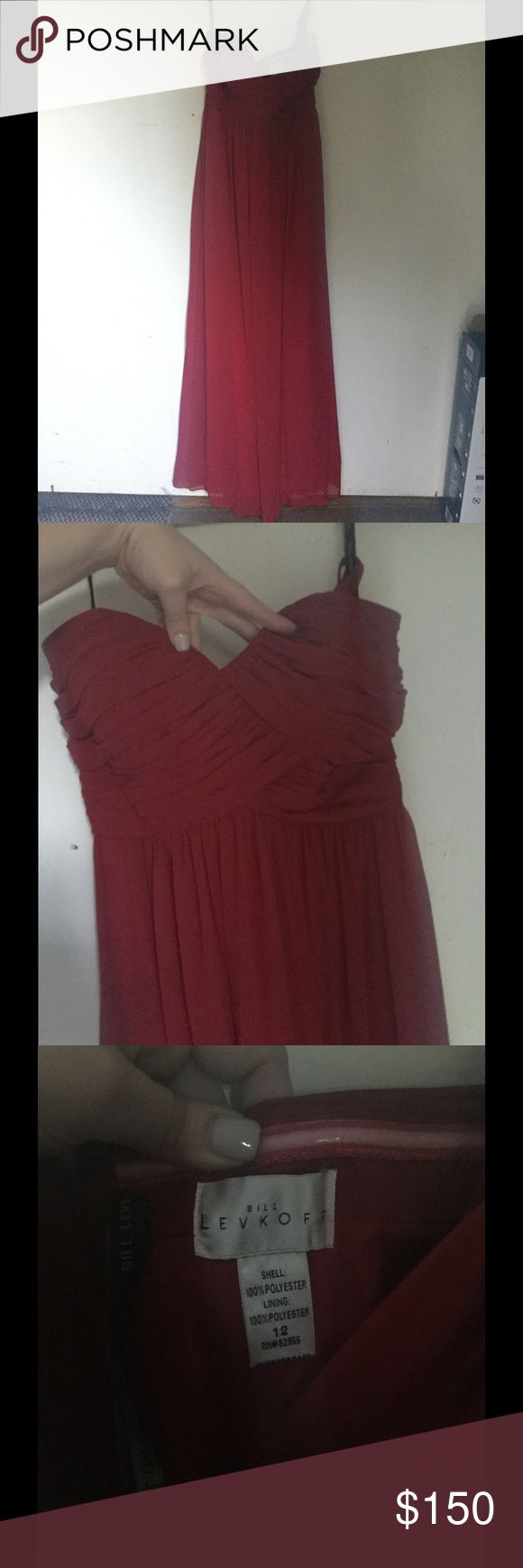 Beautiful red Bill Levkoff formal dress Bill Levkoff bridesmaid dress. Worn for like 4 hours. Size 12 xl length. Pretty rose red. There was no alterations done to it. Paid $300 for it kind of firm on price but open to offers. Willing to negotiate Bill Levkoff Dresses Strapless