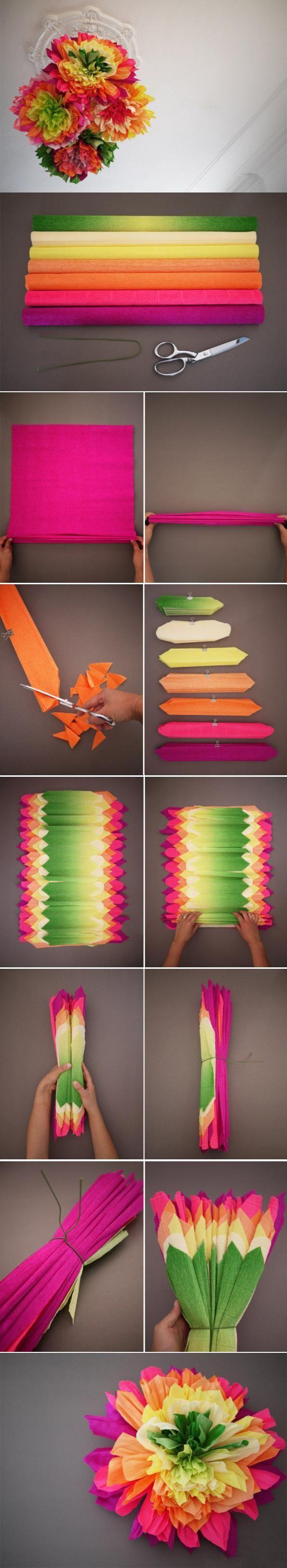 De faux bouquets de fleurs très colorés ! 6 ou 7 rouleaux de papier crépon, à plier de façon égale, puis à découper en pointe. Les étaler en superposant du plus grand au plus petit, replier, nouer avec un lien et former le bouquet !