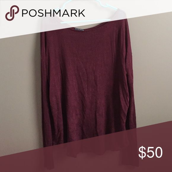 brandy melville sweater burgundy/dark red brandy melville sweater. sheer & soft, perfect with a bralette. one size but fits typical of brandy sizing. EUC Brandy Melville Sweaters