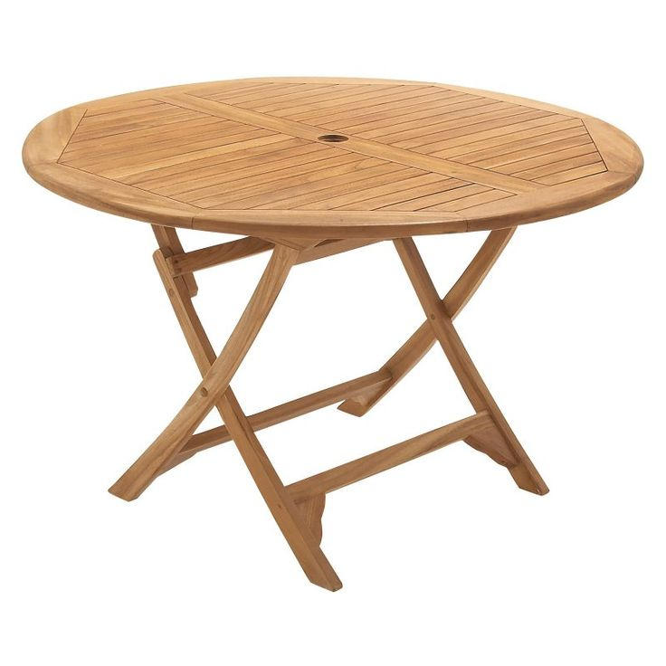 UMA Enterprises Teak Wood Folding Round Patio Table   Bring Home The Posh,  Low Maintenance UMA Enterprises Teak Wood Folding Round Patio Table .