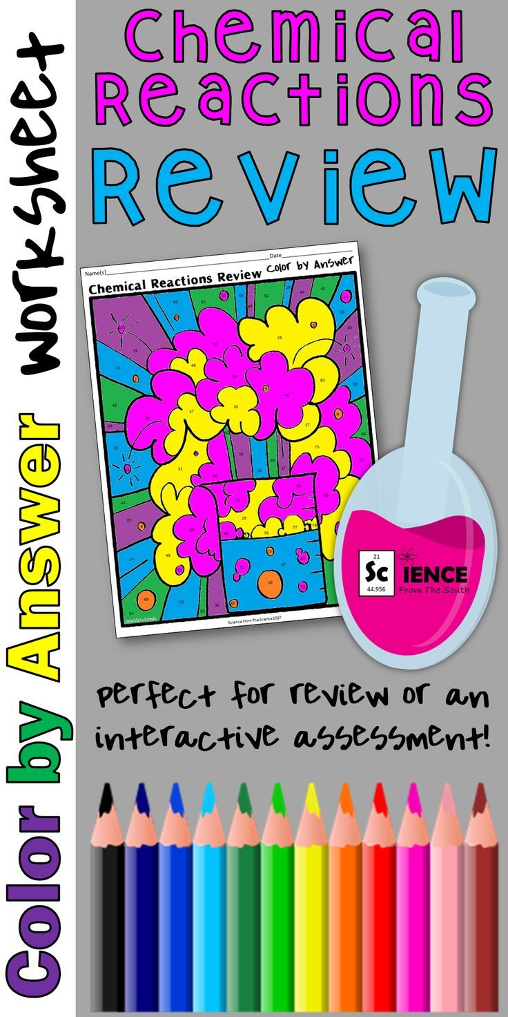 Lava lamp experiment worksheet - Chemical Reactions Review Color By Answer Worksheet