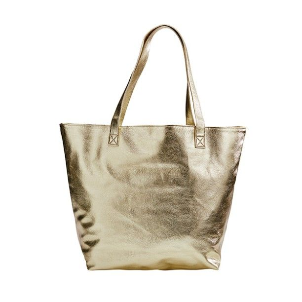 Be-you-tiful! Bring some bling to all occasions with our super shiny gold metallic tote.