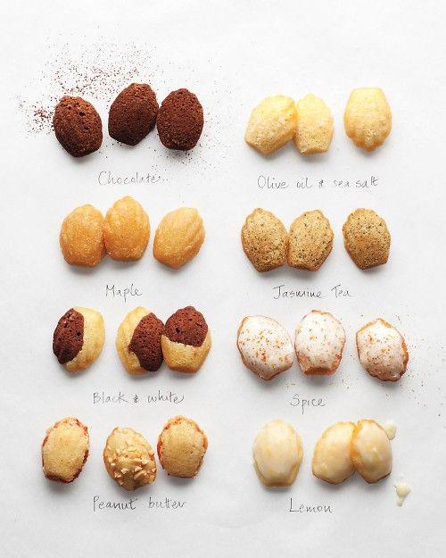 madeleines. chocolate, olive oil & sea salt, maple, jasmine tea, black and white, spice, peanut butter, lemon.