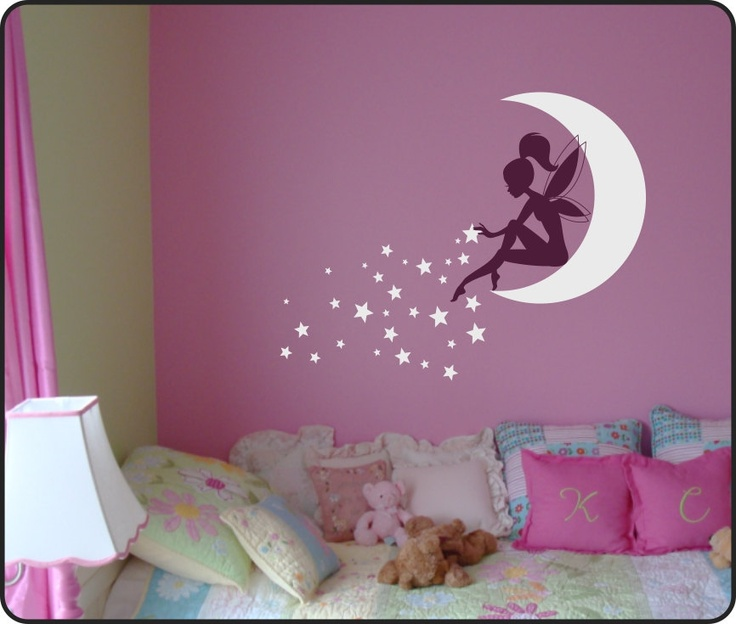 Whimsy Fairy w/ wand on Moon & Blowing Stars Vinyl Wall Decal. $35.00, via Etsy.