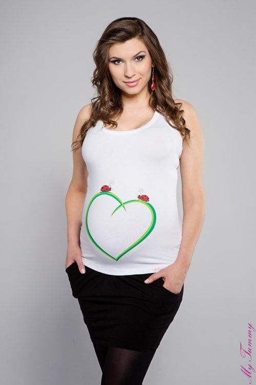 Koszulka ciążowa na ramiączka Biedronki biała