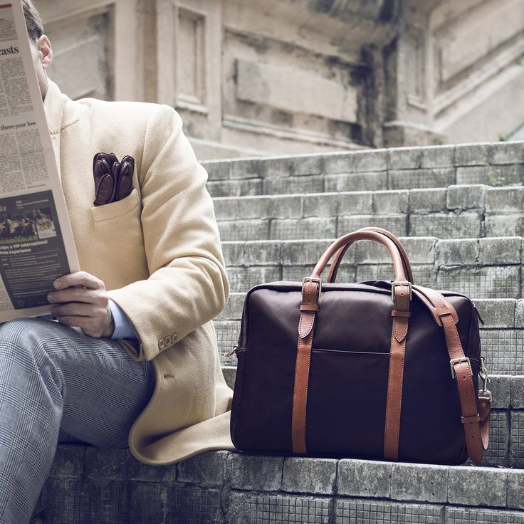 Tobacco and Tan Cary Briefcase by Stuart & Lau