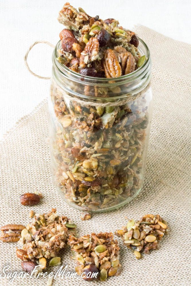 This is my favorite one that I've tried.  Crock pot granola - all nuts with a nice sweet balance.  Makes a very good cereal or topping for keto ice cream or greek yogurt.