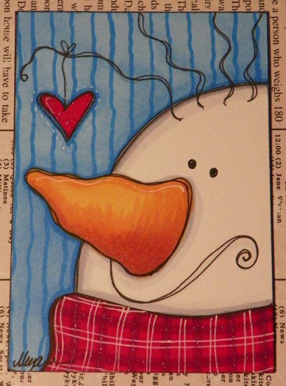*SNOWMAN ~ heart snowman original ACEO by Megan by mycreativebliss on Etsy