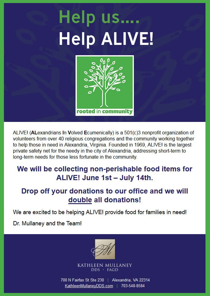 Help us Help ALIVE!- bring in your non-perishable food items and we will double the donation!
