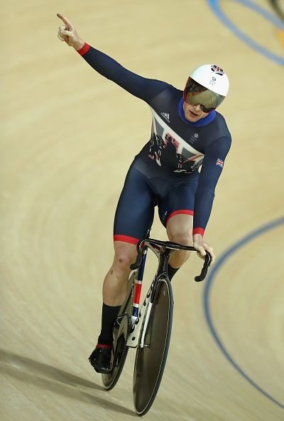 Jason Kenny of Great Britain celebrates breaking the new Olympic record after…