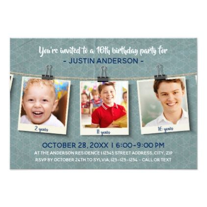 Three Photos on Twine-3x5Birthday Party Invitation - birthday gifts party celebration custom gift ideas diy