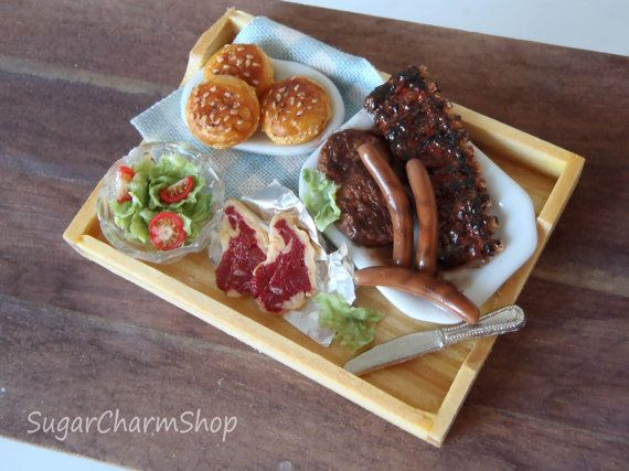 BBQ Spareribs, steaks and burger tray - 1:12 scale dollhouse miniature