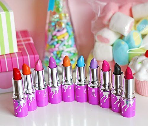 Lime Crime lipstick collection! Highly opaque colors - very creamy w good staying power.