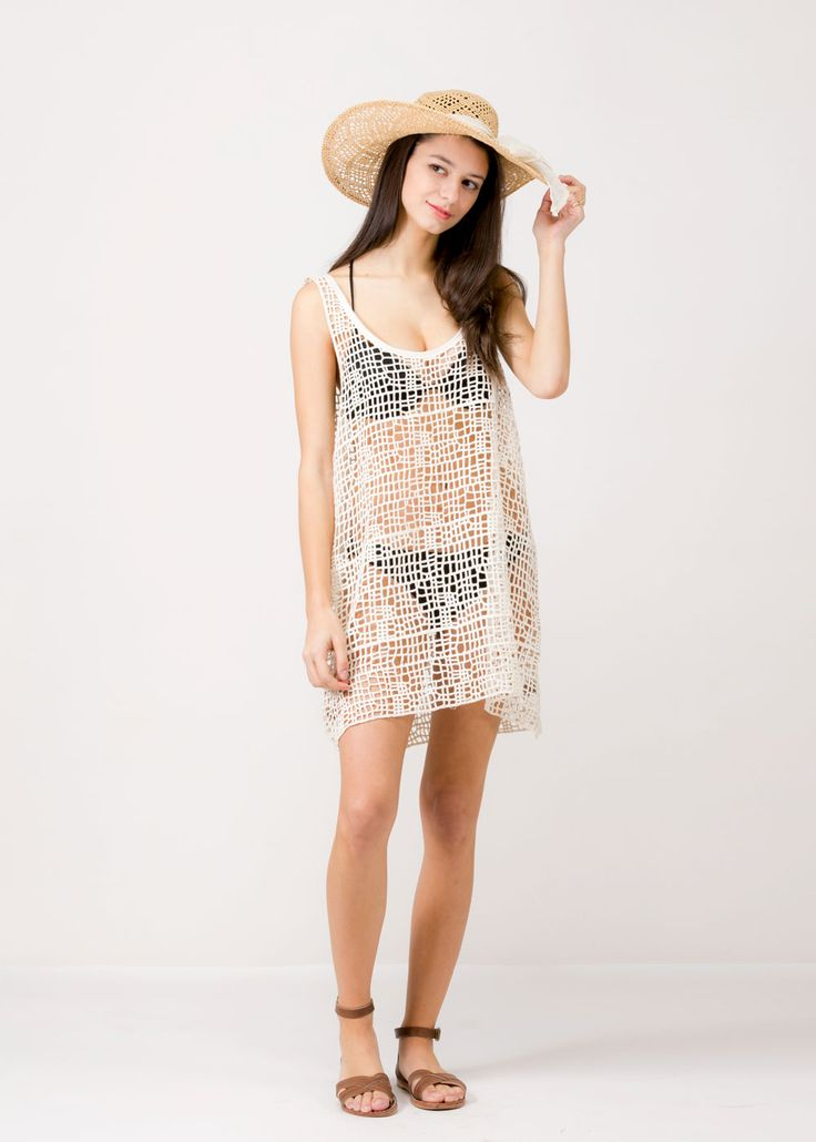 Fishnet Summer Cover Up (SM341) IVORY/ Contents: 100% Cotton/ One Size Fits All