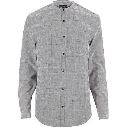 Grey checked slim fit grandad shirt £25.00