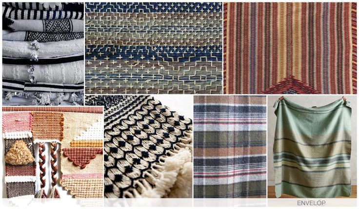 ENVELOP Knitted repeat patterns, blanket stripes, flannel plaids and heavy intarsia's all combine as a graphic inspiration we imagine being wrapped up in these textural knits.