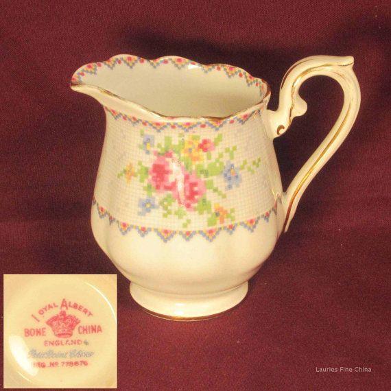 Vintage Royal Albert PETIT POINT Bone China Creamer - Made in England